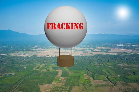 fracking: Write a FRACKING on the balloon. Stock Photo