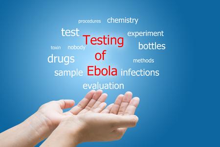 Businessman Hand Showing Testing of Ebola Word