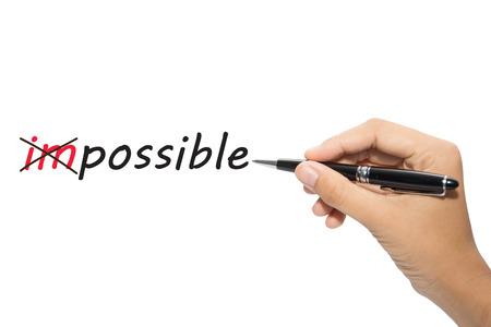 pozitivní: Obchodní ruční psaní Změna nemožné možné Reklamní fotografie