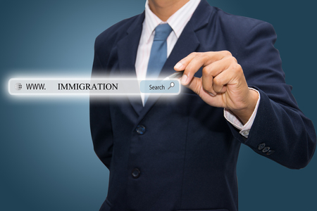 immigrate: Business and technology, searching system and internet concept Stock Photo
