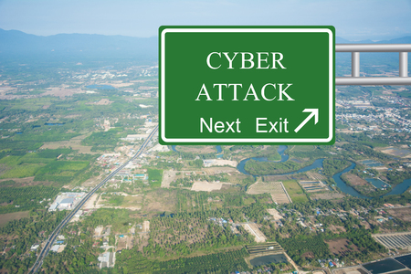 cyber attack: Creative CYBER ATTACK Road Sign concept. Stock Photo