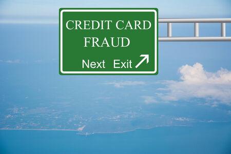 Creative CREDIT CARD FRAUD Road Sign concept. Standard-Bild