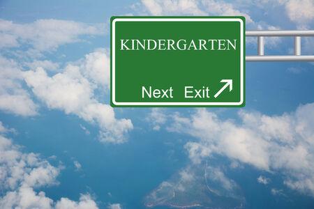 creche: Creative KINDERGARTEN Road Sign concept.