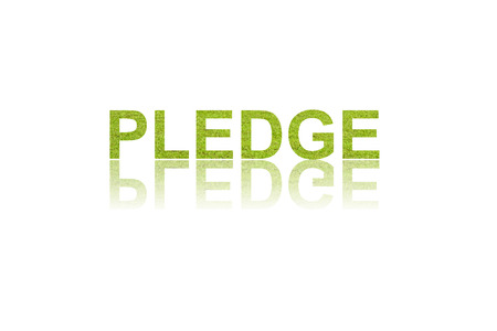 pledge: word PLEDGE in double exposure