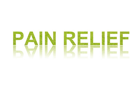 long term: word PAIN RELIEF in double exposure Stock Photo