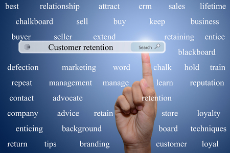 retention: Business and technology, searching system and internet concept - male hand pressing Search customer retention button.
