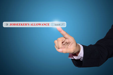 allowance: Business and technology, searching system and internet concept - male hand pressing Search JOBSEEKERS ALLOWANCE button.