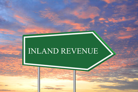 inland: INLAND REVENUE road sign green