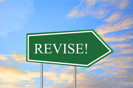 revise: REVISE! road sign green Stock Photo