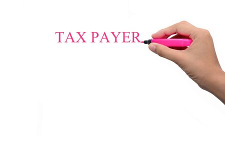 taxman: Business hand writing TAX PAYER Stock Photo