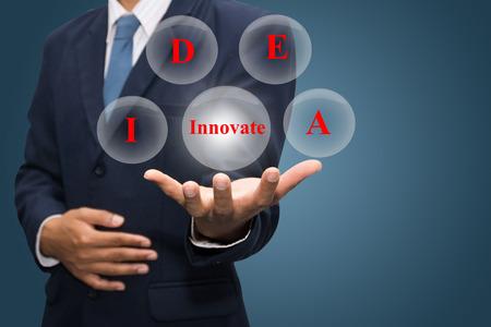 businessman hand write a idea Innovate photo