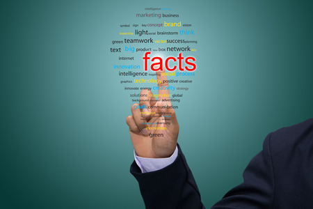 certainty: Businessman Hand Showing facts Word