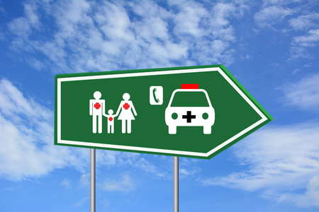 disease patients: Call for service patients road sign green Stock Photo