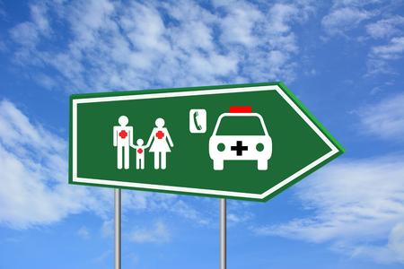 pacjent: Zaproszenie do pacjentów zielony znak drogowy usługi