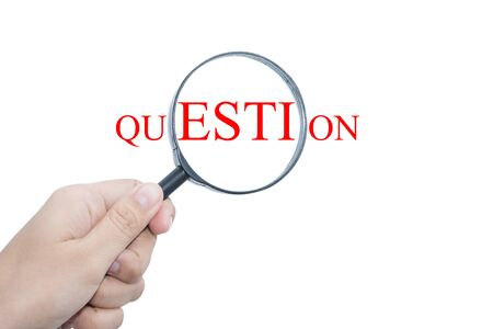 enquire: Business man Handle Magnifier QUESTION Stock Photo