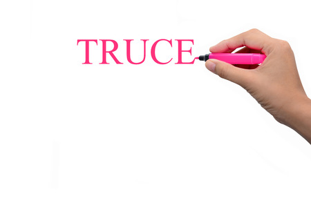 truce: Business hand writing TRUCE