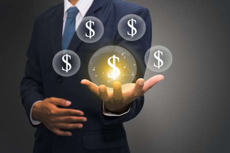 Businessman touching social money icon