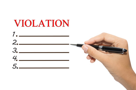 incartade: �crit de la main d'affaires VIOLATION