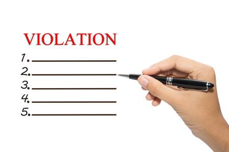 violaci�n: Escritura de la mano de negocios VIOLACI�n