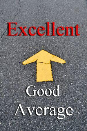 average: Excellence concept. Average, Good and Excellent symbolizing improvement and success.