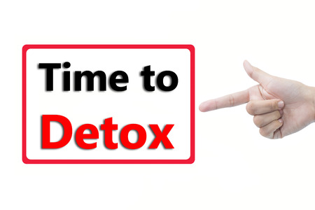 Businessman hand pointing Time to Detox Stock Photo