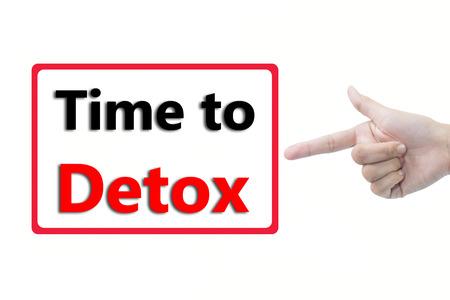 Businessman hand pointing Time to Detox Standard-Bild