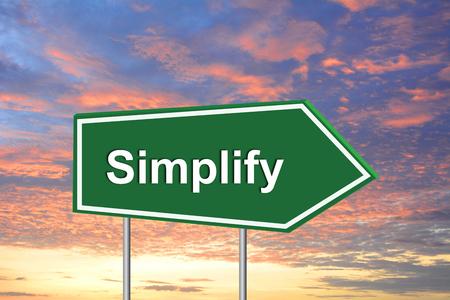 vereenvoudigen: Vereenvoudig verkeersbord groen Stockfoto