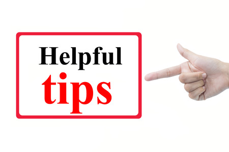 mnemonic: Businessman hand pointing helpful tips