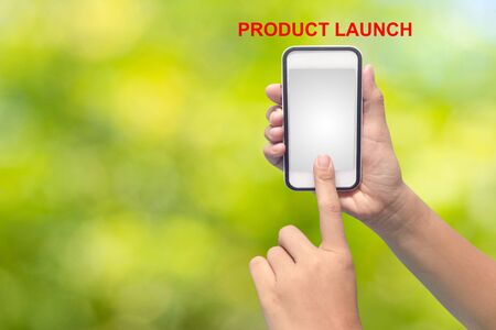 Businessman hand pointing PRODUCT LAUNCH Stock Photo
