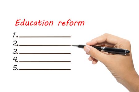 La réforme de l'écriture éducation de la main d'affaires Banque d'images - 47328645