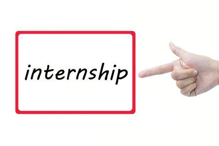 internship: Businessman hand pointing internship Stock Photo