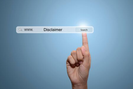 business hand and text Disclaimer Stock Photo