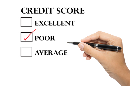 customer records: Hand writing a credit score concept. Stock Photo