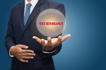 dynamic html: businessman hand write a technology