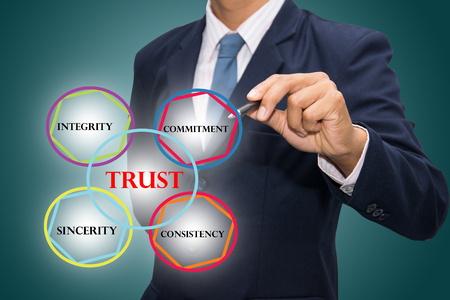 liable: business man writing trust building concept