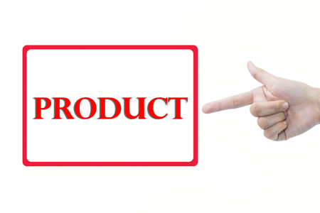 Businessman hand pointing product Stock Photo
