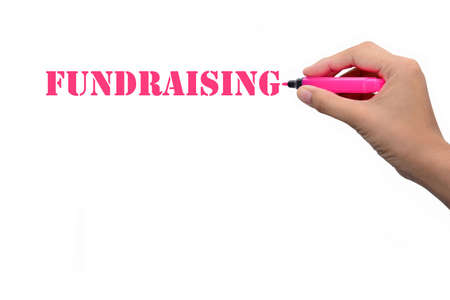 Business hand writing fundraising concept Stock Photo