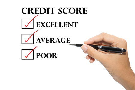 Hand writing a credit score concept. Stock Photo