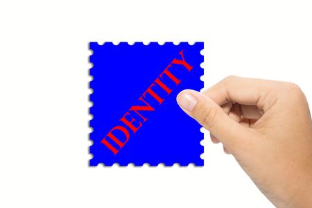 ビジネスの男性のアイデンティティの記号を保持