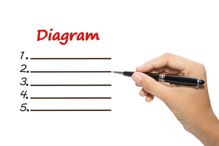 Business hand writing diagram concept Stock Photo