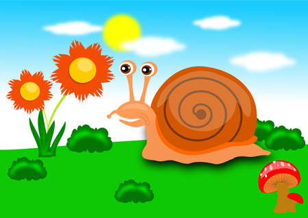 Snail in the garden Stock Vector - 14982077