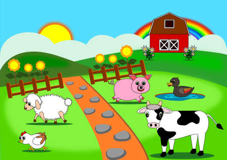 barn black and white: Animals farm cartoon vector