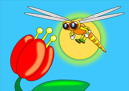 Dragonfly and Lily Flower cartoon Illustration