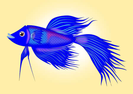 Blue Siamese fighting fish cartoon vector Illustration
