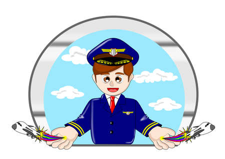 Pilot cartoon vector Illustration
