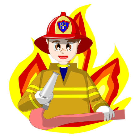 Fireman cartoon vector Illustration