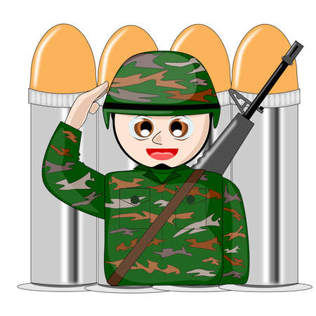 Soldier cartoon vector Stock Vector - 15705925