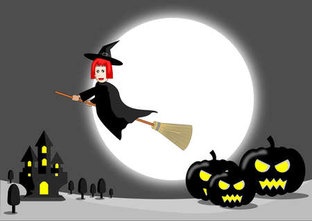 Witch cartoon vector Illustration