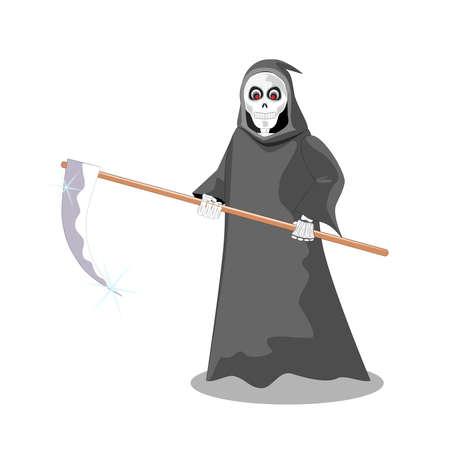 reaper: Isoliert Sensenmann cartoon vector Illustration