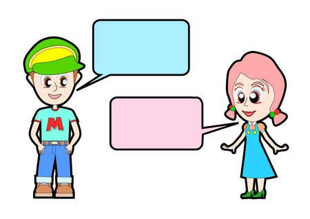 대화가 청소년의 커플 일러스트